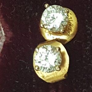 Jewelry - Estate .50ct  Cubic Zirconia  14k YG earring studs